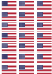 USA Flag Stickers - 21 per sheet